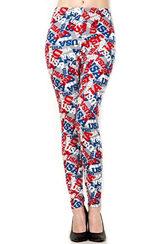 Print Avenue Leggings (New Mix Trendy U Women's Buttery Soft Leggings, One Size USA Print)