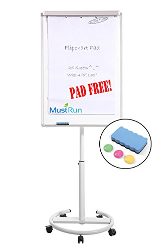 MustRun 28''x40''Magnetic Mobile Whiteboard,Dry erase board,Flipchart Easel with Pad,Max Height 76''(25 Sheets Filp Chant Pad,1 Erase&3 Magnets) by MustRun