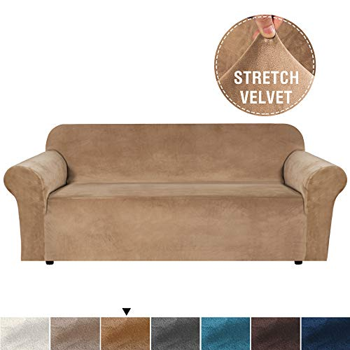 Stretch Velvet Slipcover - H.VERSAILTEX Velvet Plush Stretch Sofa Slipcover Sofa Cover Furniture Protector Couch Soft with Elastic Straps for Anti-Slip, Form Fitted High Stretch Velvet Plush Sofa Slipcovers (Sofa, Luggage)