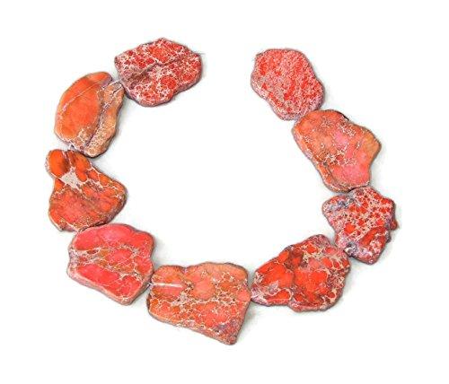 Slab Nugget - Orange Impression Jasper- Aqua Terra Jasper Bead - Imperial Jasper Slab Bead - Center Drilled - 15 Inch Strand - 30mm - 35mm