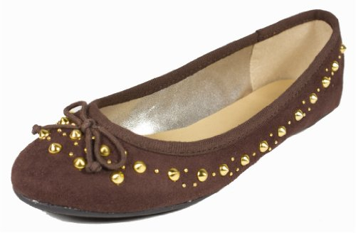 manejar! By City Classified Trendy Cute Spike Studded Ballet Flats Con Pajarita En Faux Suede Chocolate