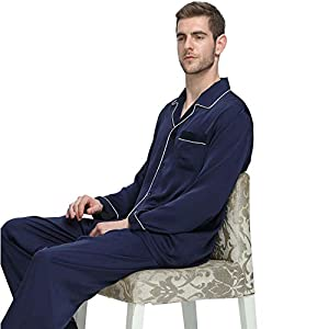 Mens Silk Satin Pajamas Set Sleepwear Loungewear NavyBlue S