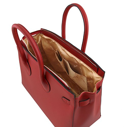 Tuscany Leather Elettra Borsa a mano media in pelle con accessori oro Celeste Rosso
