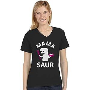 Mama Shirt Mamasaurus Shirt Dinosaur Mom Shirt Women V Neck T-Shirt