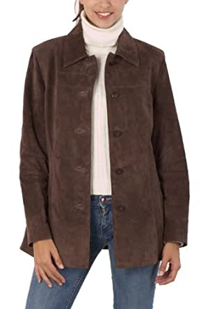 """BGSD Women's """"Anna"""" Suede Leather Car Coat - Brown S"""