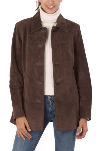 BGSD Women's Anna Suede Leather Car Coat - Plus 2X ()