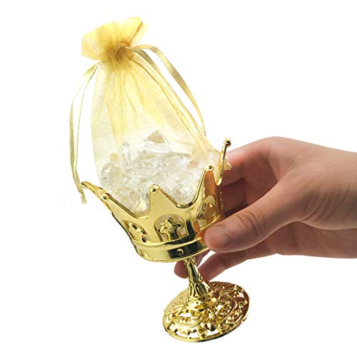 JCHB 12pc Fillable Gold Crown Goblet with Pouch for Party Favor, Candies, Table Decoration, Keepsakes, Baby Shower]()