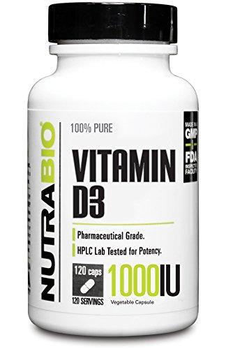 NutraBio Vitamin D 1000 IU - 120 Caps