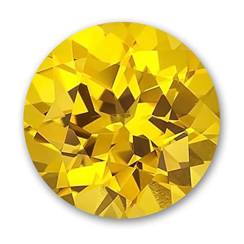 7.0mm Round Gem Quality Chatham Lab-Grown Yellow Sapphire Weighs 1.48-1.81 Ct, Medium Tone.