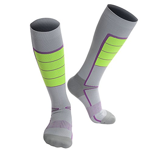 Ohio State Football Game Score (Soccer Socks with Compression Design, Mid-Calf, High Elasticity and Durability, Holding the Shinguard Tightly, 1 Pair (Grey, M: US 9-11))