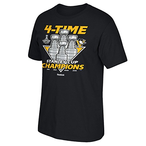 [Pittsburgh Penguins Black 2016 Stanley Cup Champions 4 Time Cup Champs Trophies T-shirt Medium] (Stanley Cup T-shirt)