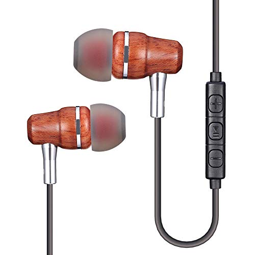 Volume Earpiece Control - Sunorm Wood Earbud Headphones with Microphone and Volume Control Deep Bass Noise Cancelling Earphones, HD Stereo Earphones Comfort-Fit Earpieces(Yellow)