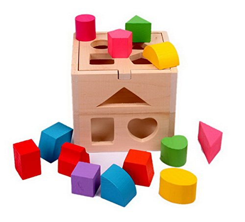 - Montessori Sorting Cube Intellectual 13 Holes Shape Box Educational Wooden Toy