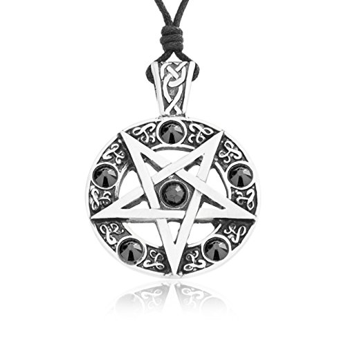 Fine Pewter Necklace (Dan's Jewelers Inverted Pentagram Necklace Pendant with Black Swarovski Crystals, Fine Pewter Jewelry)