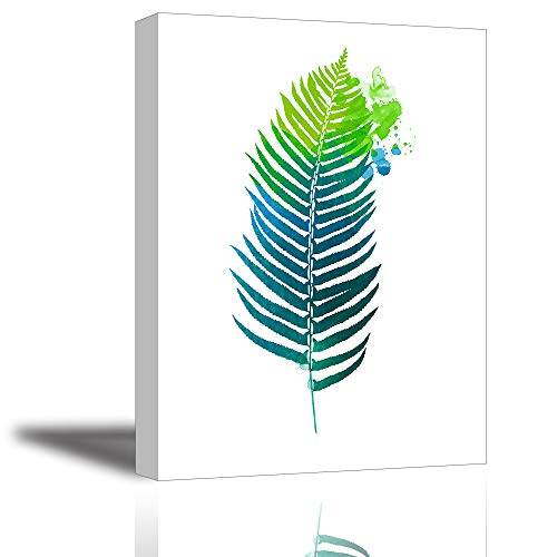 (Leaf Wall Art for Bedroom, PIY Modern Botanical Green Leaves Canvas Prints, Tropical Greenery Plant Illustration Fern Picture Decor (1