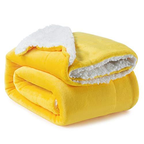 BEDSURE Sherpa Fleece Blanket Twin Size Yellow Gold Mustard Golden Plush Blanket Fuzzy Soft Blanket Microfiber