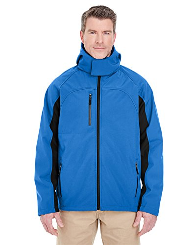 UltraClub Adult Color Block 3-in-1 Systems Hooded Soft Shell Jacket - Classic Blue/ Black - S