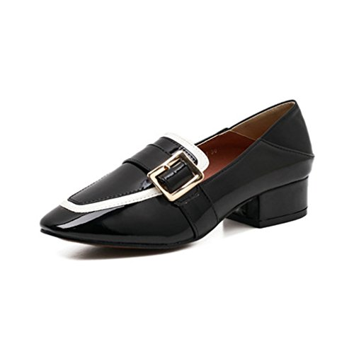 Womens Shoes Slip Loafers Toe Pumps Buckle On Loafer Square Fashion Black Heel GIY Block Penny Dress Classic d8Zqggx