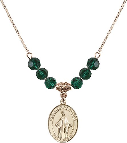18-Inch Hamilton Gold Plated Necklace with 6mm Emerald Birthstone Beads and Gold Filled Our Lady of Africa Charm. by F A Dumont