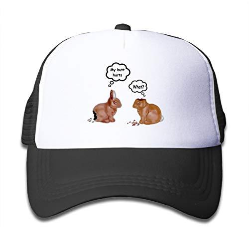 Wufive My Butt Hurts Bunnies Kids White Fashion Unisex Children's Trucker Hats One Size Black -