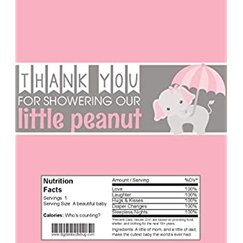Candy Bar Wrappers Baby Shower Favors Set of 25 (Pink Elephant, NO foil or Tape)
