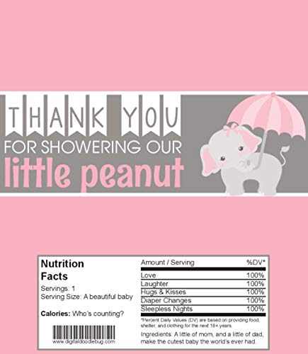 - Candy Bar Wrappers Baby Shower Favors Set of 25 (Pink Elephant, NO foil or Tape)