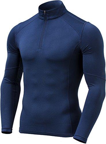 TM-YUZ47-NVY_Medium Tesla Men's Emboss 1/4 Zip Sweatshirt Thermal Wintergear Fleece Lining (Fleece Thermal Sweatshirt)