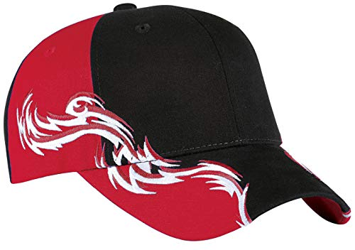 Upscale 100% Cotton Colorblock Racing Hat Cap With Flames - ()