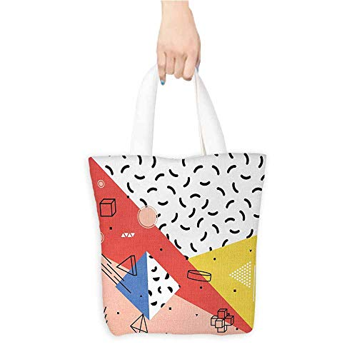 Handbag or crossbody messenger bag,Abstract,Modern Geometric Trippy Figures Triangles Cubes Circles Rollers Dots Artful Print,Organic Cotton Washable & Eco-friendly Bags,Multicolor