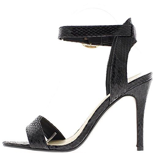 Sandales noires à talon de 11cm aspect peau de serpent