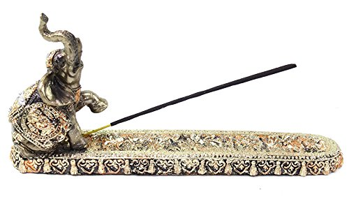 (Gold Thai Elephant Buddha Wraps Incense Burner Holder Lucky Figurine Home Decor Gift (G16555) Feng Shui Idea ~ We Pay Your Sales Tax)