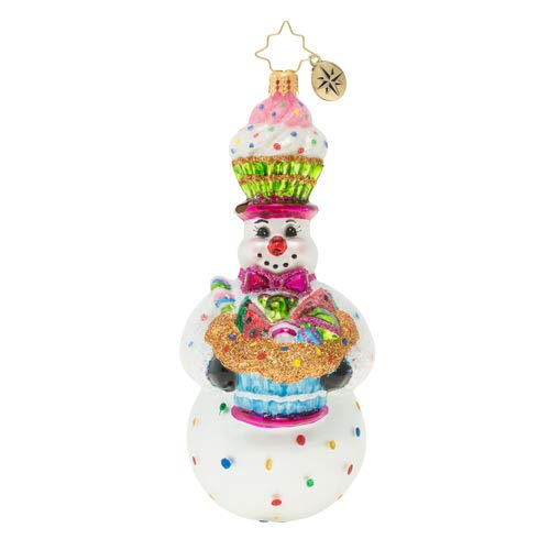 Christopher Radko Delicious Confectionery Snowman Christmas Ornament, White, Pink, Blue, Brown