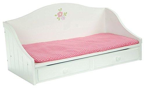 Olivia's Little World Princess White Trundle Bed | Wooden 18 inch Doll Furniture