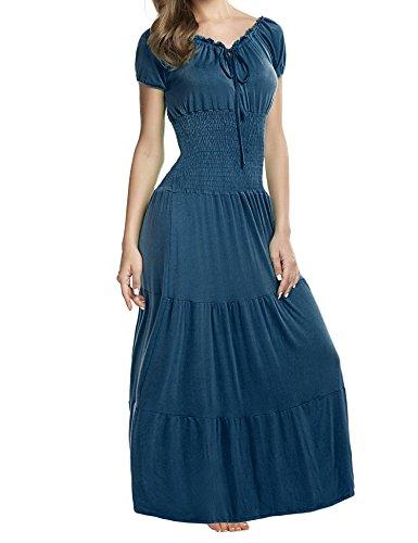 Zeagoo Women's Summer Boho Cap Sleeve Smocked Waist Tiered Renaissance Maxi Dress Dark Green XL