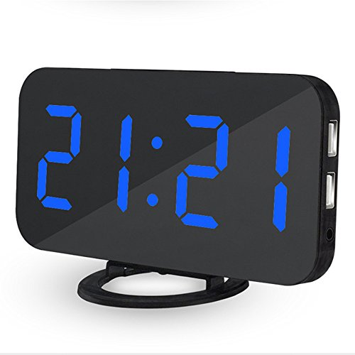OXOQO LED Digital Alarm Clock - USB Powered, No Frills Simple Operation, Large Night Light, Alarm, Snooze, Full Range Brightness Dimmer, Black Background, Big Digit Display Screen by OXOQO