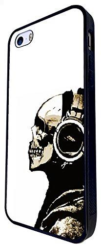 1545 - Cool Fun Trendy DJ Headphones Hoody Scary Skull Tattoo Biker Sugar Skull Design iphone SE - 2016 Coque Fashion Trend Case Coque Protection Cover plastique et métal - Noir