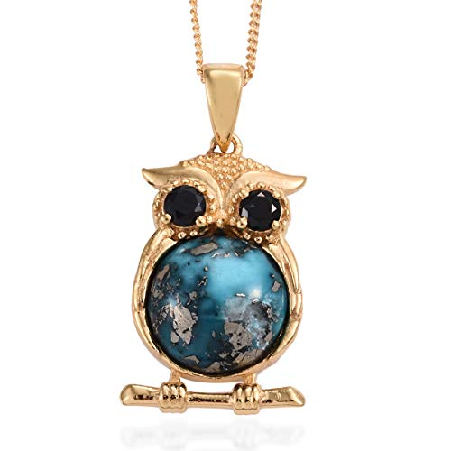 Persian Turquoise Thai Black Spinel Owl Pendant Necklace for Women 20