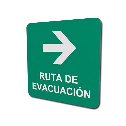 Ruta de evacuación con flecha derecha de 150mm de ancho por 150mm de altura
