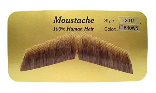 Largemouth Men's Self Adhesive Ned Costume Moustache + Glue (Light Brown) -