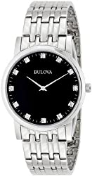 Bulova Men's 96D106 Diamond-Accented Stainless Steel Watch