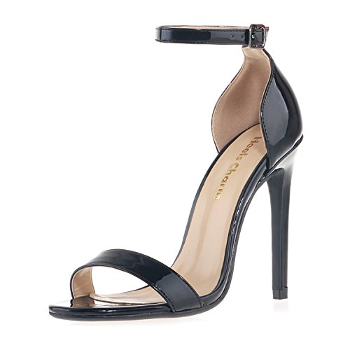 Patent Leather Strappy Sandals - Heels charm Women's Heeled Sandals Buckled Ankle Strap Dress Sandals Stilettos Open Toe High Heel For Wedding Party Evening Shoes Patent Leather Black Size 9