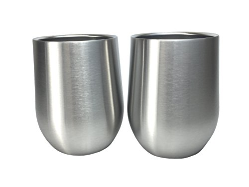 Set of 2 Avito Stainless Steel Stemless Wine Glasses - Double Walled Insulated 11 oz - Shatterproof - BPA Free Healthy Choice - Dishwasher Safe - Best Value