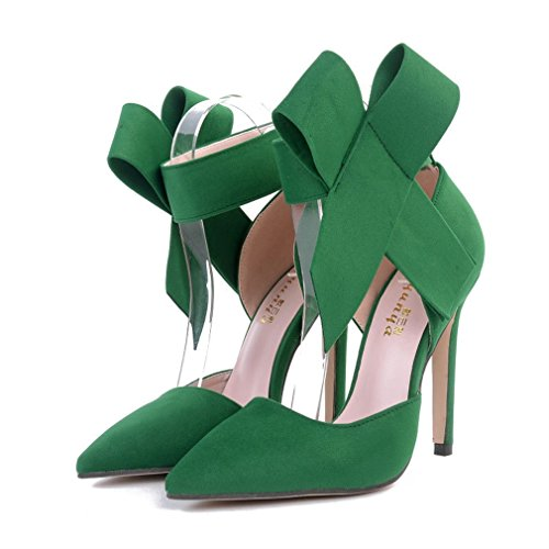 Women Tie Talons Vert Big hauts Xianshu Thin Pointed Shoes Heel Bow Pompes Single AxftwqR
