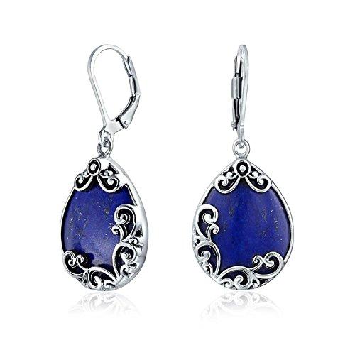 Bali Style Teardrop Scroll Filigree Scroll Blue Lapis Lazuli Leverback Dangle Earrings For Women 925 Sterling Silver (Plated Classic Scroll Silver)
