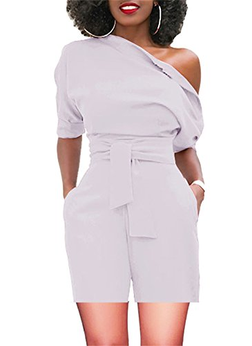 Women's Retro Jumpsuits High Waisted with Belt One Off Shoulder White Large by BETTE BOUTIK