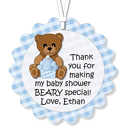 (Personalized Boy Blue Teddy Bear Baby Shower or Birthday Party Favor Tags or Stickers Decorations with Optional Invitations, Sign, Banner, Thank You Cards - Handmade in USA - BCPCustom)