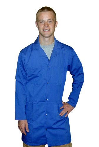 StaticTek 5049 Light Blue Fabric ESD Safe Snap Cuffs Collared Lab Coat-Certified Level 3 Static Shielding ESD Smock Jacket for Anti-Static Work Places,2X-Large | TT_JLC5406SPLB