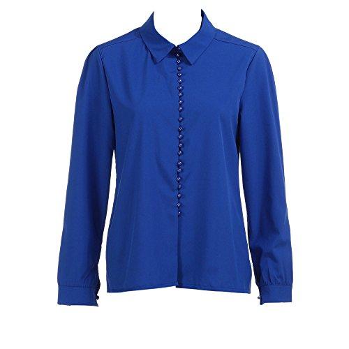 clearance sale!!ZEFOTIM Women Casual Solid Long Sleeves Blouse Lapel Shirt (US-12/CN-XL,Blue) ()