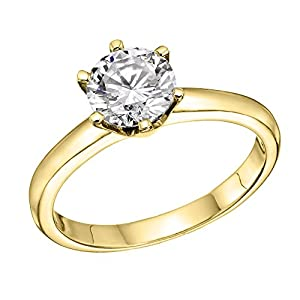GIA Certified 14k yellow-gold Round Cut Diamond Engagement Ring (1.57 cttw, F Color, SI1 Clarity)