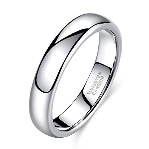 Shuremaster 4mm Tungsten Wedding Band Ring Men Women Plain Dome High Polished Comfort Fit Size 4.5 ()